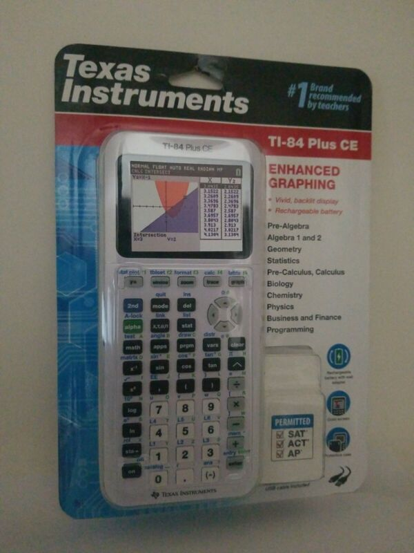 Texas Instruments TI-84 Plus CE - White, Color Graphing Calculator - New Sealed