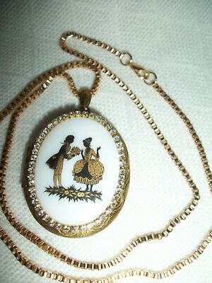 NECKLACE PENDANT 30x40mm VICTORIAN COUPLE PORCELAIN CAMEO PICTURE LOCKET CRYSTAL
