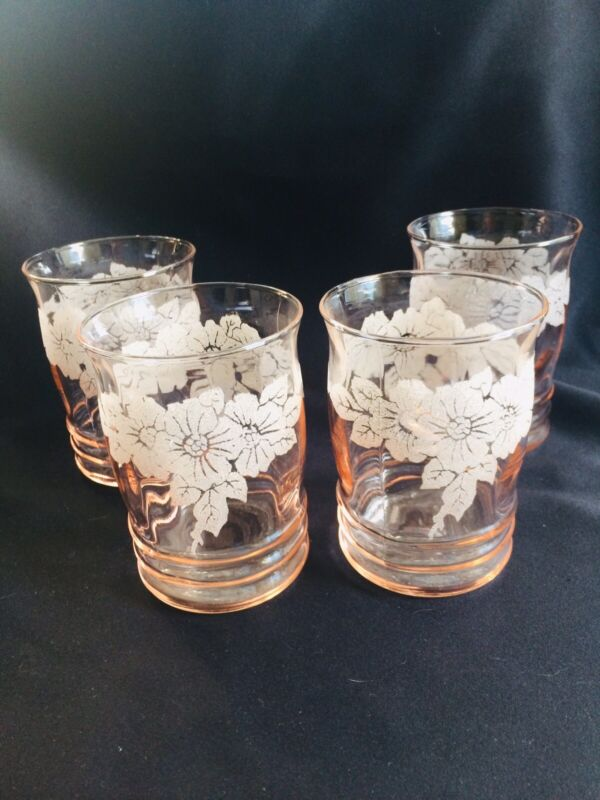 """Dogwood 4"""" Decorated 10oz Tumblers Lot Of 4 Just Gorgeous!!!!!"""