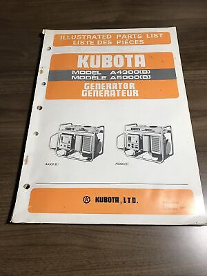 Genuine Kubota A4300b A5000b Generator Parts Book Catalog Manual