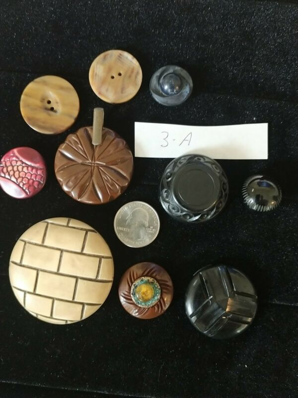 LOT: VINTAGE CARVED BUTTONS-BAKELITE-DECO & MIXED  lot 3 A