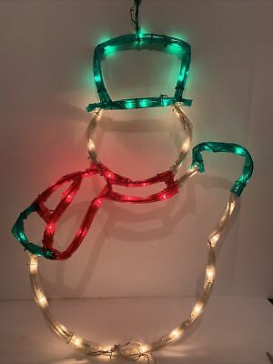 "Vintage Snowman Light Up Hanging Silhouette Window Door Wall Christmas Decor 24"""