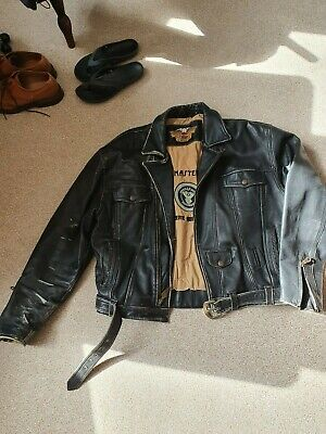 Harley Davidson vintage motorcycle leather jacket  L for sale  Chesterfield
