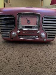 Crosley Corsair Retro Pink Alarm Clock Radio CD Player CR612-PI - Works