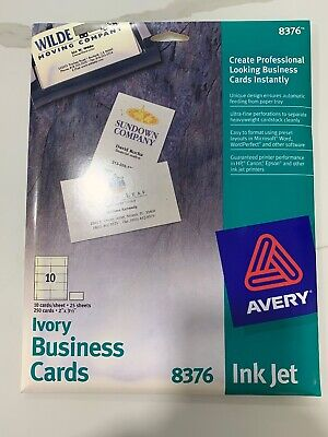 Avery 8376 Matte Ivory Business Cards Ink Jet - 250 Cards On 25 Sheets