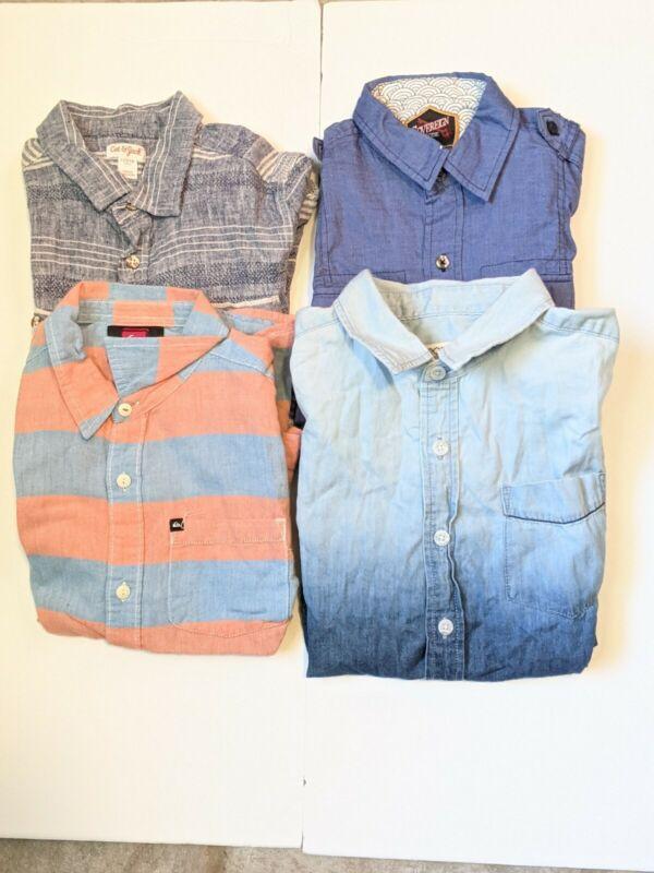 Volcom Cat Jack Button Down Shirts Sz 12 - 14 Short Sleeve EUC Lot of 4