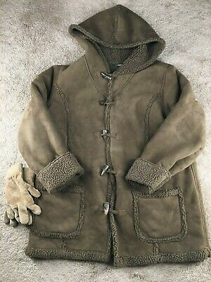 LL Bean Suede Faux Fur Lined Coat Parka Sherpa Hoodie Jacket Brown Toggle Clasps
