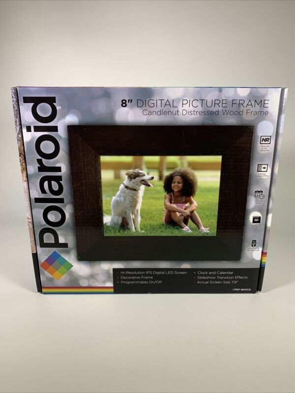 Polaroid 8in Digital Photo Frame - Candlenut Distressed Wood Frame - NEW!!