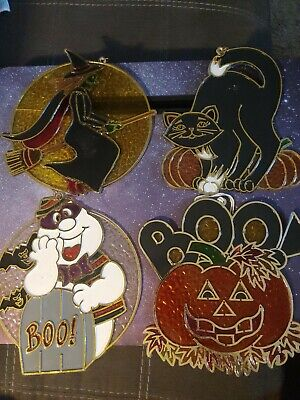 4 Vintage Halloween Sun Catchers Plastic Cat Ghost Jack O Lantern Witch Hanging