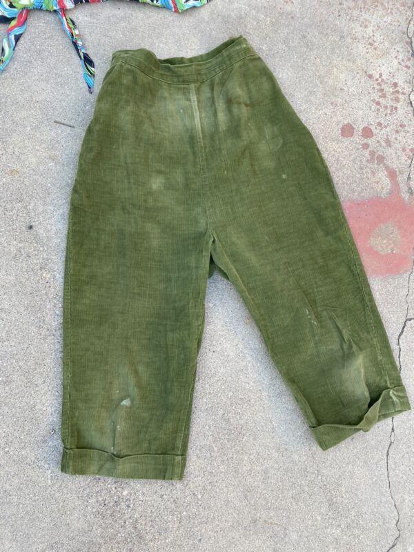 Vintage 1940s Green Corduroy Pants High Waisted Capris Paddle Saddle Sportswear