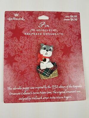 Hallmark Pin Christmas Inspired by Keepsake Ornaments Puppy Love Dog in Basket