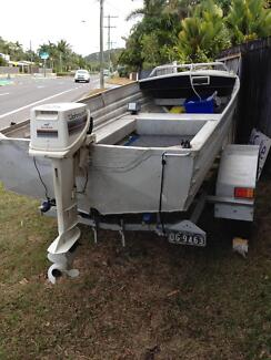 For sale 4.1m solid dry tinnie with a 4x4 split trailer new 15hp