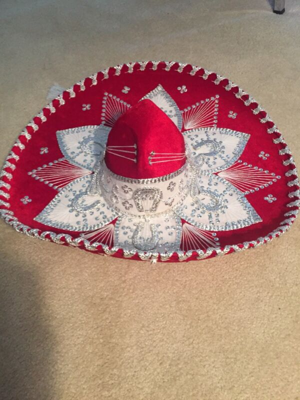 "Authentic Pigalle Red/Silver Mexican Mariachi Sombrero Hat 23"" XXXXXXX 7X NEW"