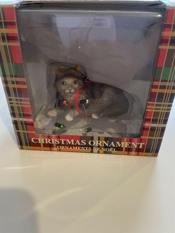 NIB New Sandicast Cat Christmas Ornament Maine Coom Brown Tabby Xmas Lights