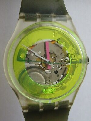 1987 Techno Sphere Gents Swatch Watch Neon Lightning Hand - No Res/Free Shipping