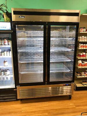 New 2 Two Door Glass Cooler Refrigerator Led Lighting 47cu 8 Shleves Casters