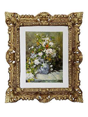 Cuadro de Pared Búcaro con Flores Por Pierre-Auguste Marco Barroco 45x38CM Oro