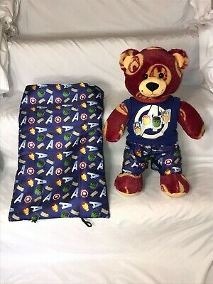 Build A Bear Iron Man Avengers Teddy Bear Plush W/ Pajamas Outfit & Sleeping Bag