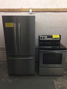 Whirlpool Stainless Convection Stove + Fridge