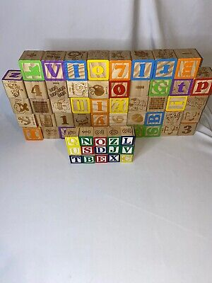 """LOT 48 Wooden ABC 123 Blocks Building Large 1 3/4"""" Creative Learning + 15 Small"""