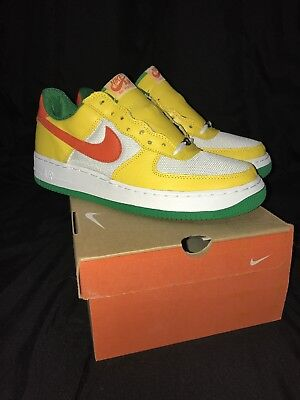 03 Nike Air Force 1  Carnival  Yellow Zest Orange White 307334 781 Mens Sz 10