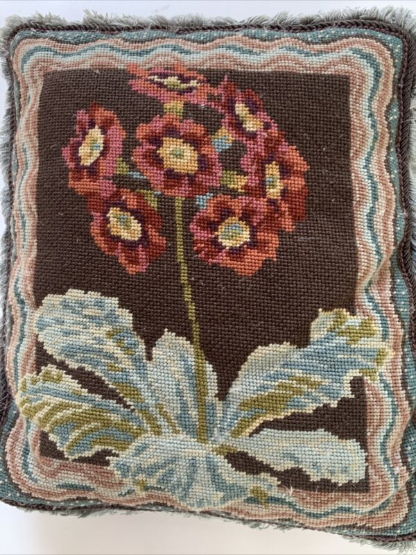 Needlepoint Embroidered 2 Filled Pillows Flowers Floral vintage