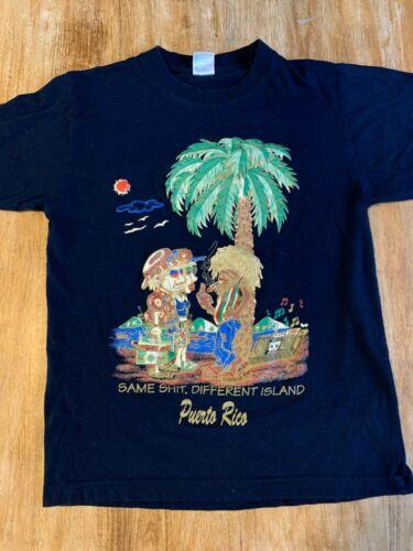 """Vintage Puerto Rico """"Same..Different Island"""" Souvenir Shirt Size S"""