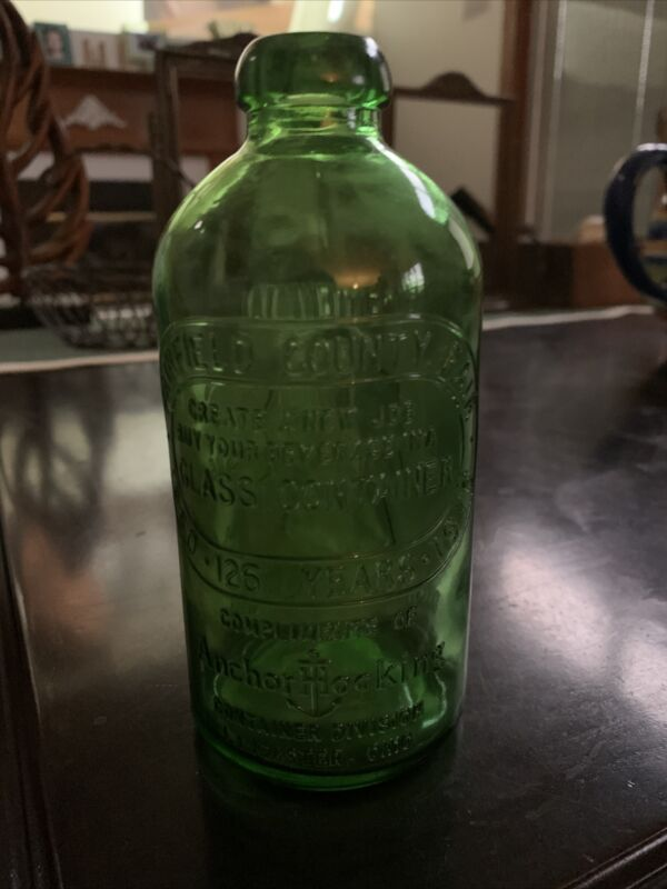 Hocking Green Glass Fairfield County Fair Cameo Bottle Bicentennial Anchor Ohio