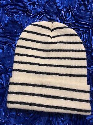 Zara Men's Striped Knit Hat. Off White