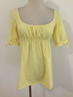 Lilly Pulitzer Square Scoop Neck Empire Top Yellow w/Pink Embroidered Dots Sz 0 (Scoop Neck Empire Top)