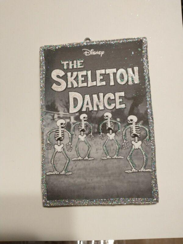 Vtg Image ~~Disney Skeleton Dance Halloween  Glitter Wood Ornament