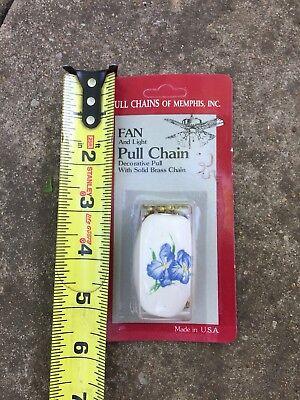 Set 2 Iris Blue Flower Ceiling Fan Light Lamp Ceramic Pull 2