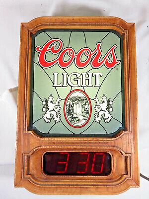 Vintage 1981 COORS LIGHT Beer Lighted Digital Wall Bar Clock Sign ~ Works!!