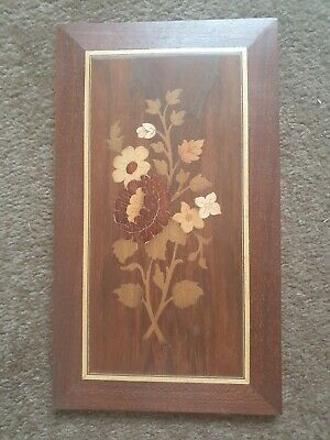 Vintage Marquetry Wall Plaque With Flowers (.)