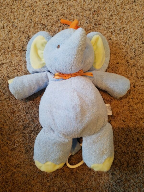 JUST ONE YOU Blue Elephant Orange Ribbon Musical Crib Pull Toy Plush