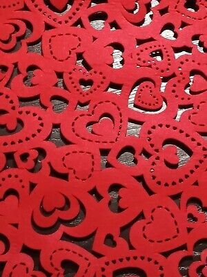 CYNTHIA ROWLEY Valentine's Day Hearts RED Table Runner 14''x48''~OPEN CUT FELT~