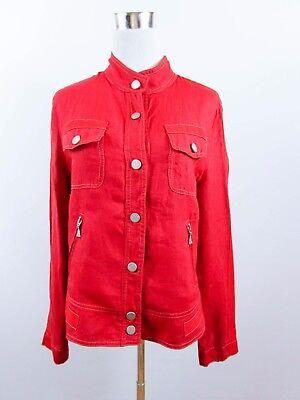 Italian Designer Womens Vintage 80s Red Casual Linen Fashion Jacket sz 14-16 BD6
