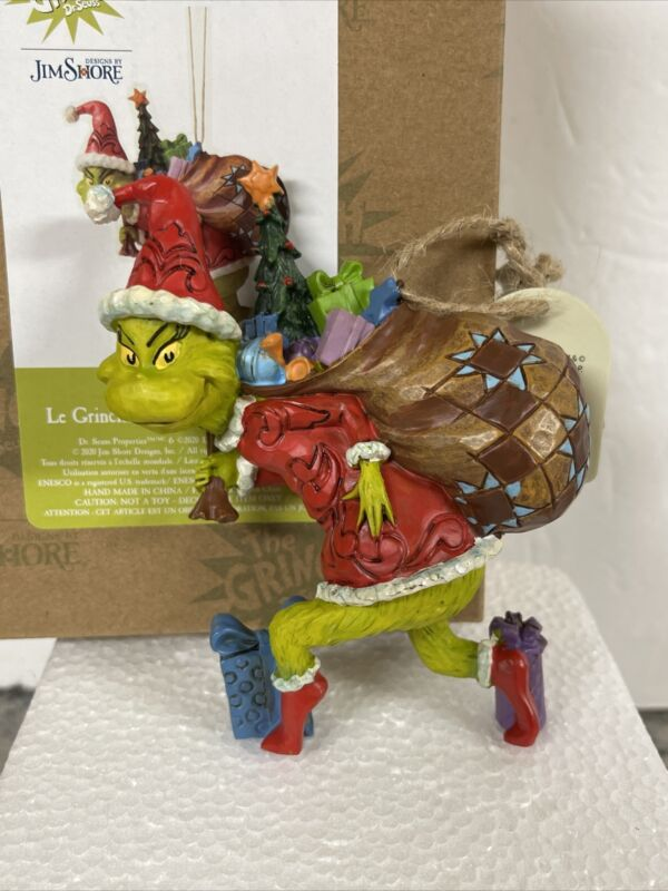 """New Jim Shore The Grinch """"Sneaking Tip Toeing  Bag of Gifts Tiptoeing Ornament"""
