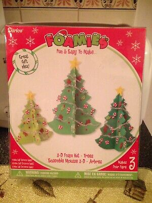 Fun Christmas Crafts For Kids (Darice Foamies 3D Christmas Trees Foam Kit Kids Crafts Christmas Decor Fun)