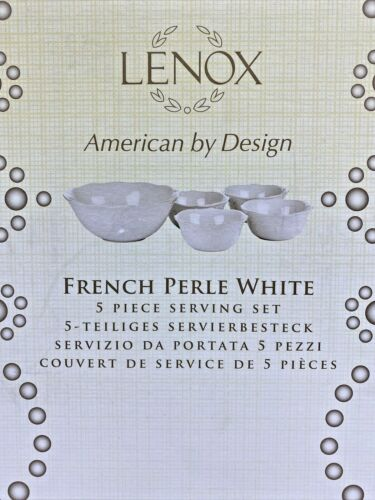 LENOX French Perle White 5 Piece Serving Set, NEW in Box Missing 1 Bowl