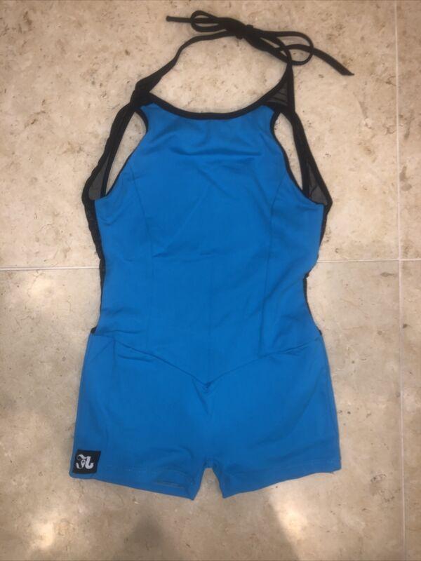 Jo and Jax Dancewear Azure Blue and black Unitard 12/14 Large💙