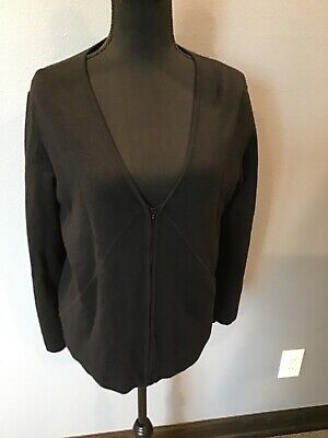 Jaeger Women's Black Zip Up Jacket 100% Wool Size Large