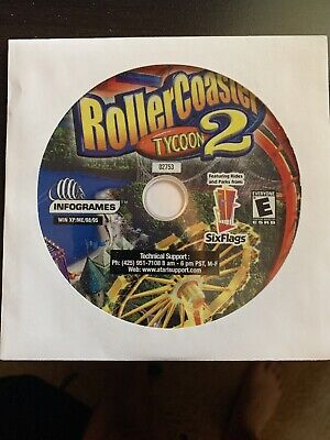 RollerCoaster Tycoon 2 PC Game Feat Six Flags Rides New, Never Played DISK ONLY!