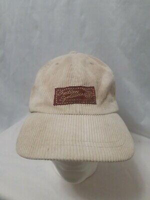 Indian Motorcycle Sportswear Corduroy Buckleback Cap/Hat Beige Tan Adjustable EC