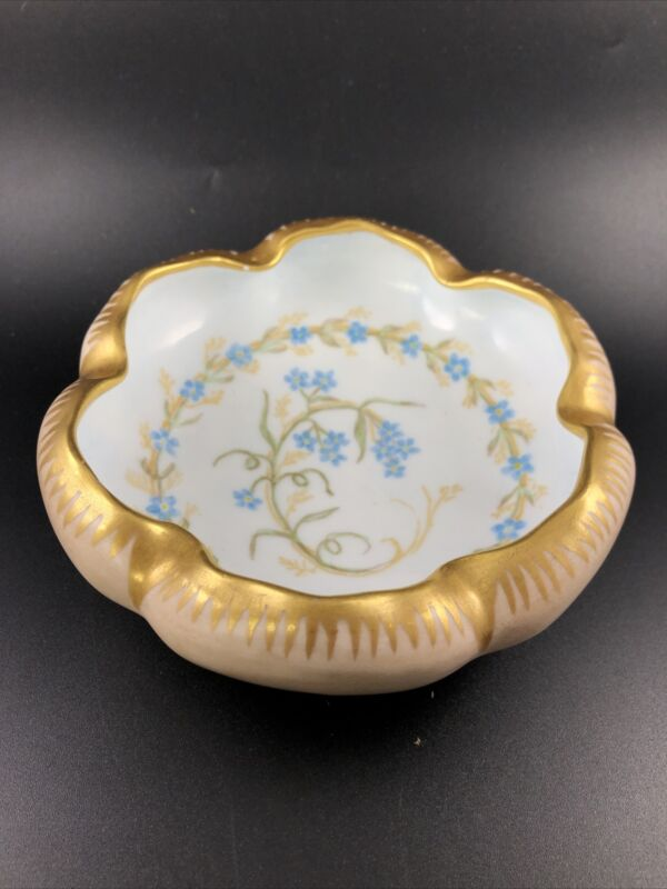 Vintage Hand Painted Footed Austrian Candy Dish Bowl Marked Signed Gold Trim