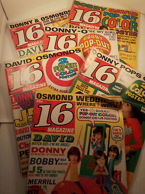 "SIX original 1971-1972-vintage (16 Mag. Inc.) Teen ""16 Magazines"" 6-pc. LOT!"