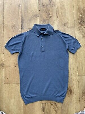 John Smedley Cotton Knitted Polo. Small.