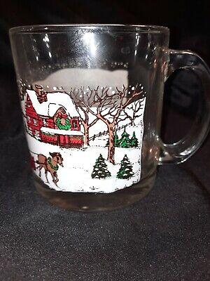 Vintage Libbey USA Christmas Winter Village Glass 13oz Cup Coffee Mug
