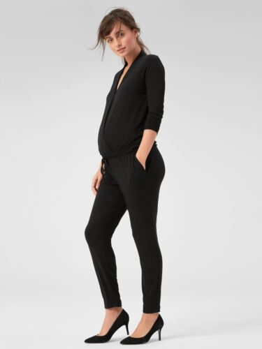 Gap Maternity Long Sleeve Wrap Jumpsuit, True Black SIZE L        #268915 E1219