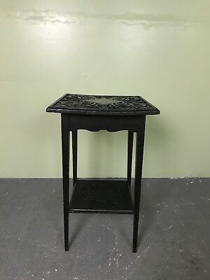 Victorian Antique Gothic Carved Oak Side Table